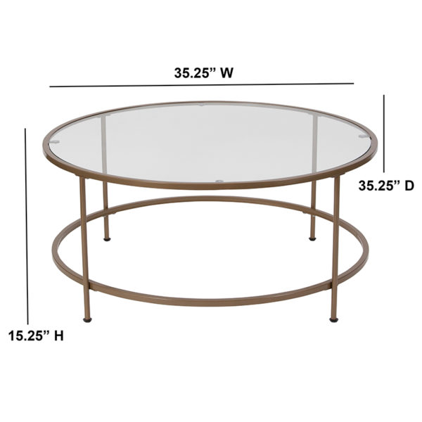 Lowest Price Astoria Collection Glass Coffee Table with Matte Gold Frame