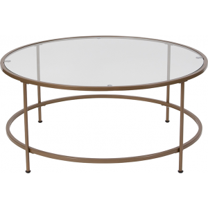 Wholesale Astoria Collection Glass Coffee Table with Matte Gold Frame