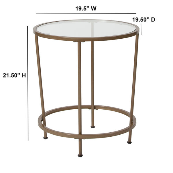 Lowest Price Astoria Collection Glass End Table with Matte Gold Frame