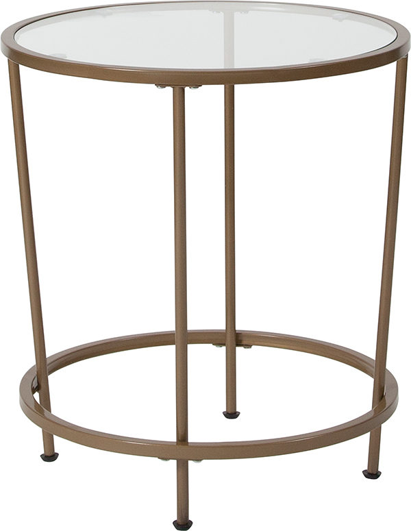 Wholesale Astoria Collection Glass End Table with Matte Gold Frame