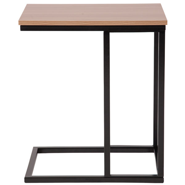 Lowest Price Aurora Rustic Wood Grain Finish Side Table with Black Metal Cantilever Base