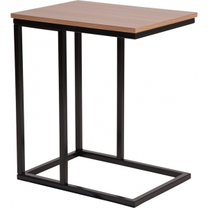 Wholesale Aurora Rustic Wood Grain Finish Side Table with Black Metal Cantilever Base