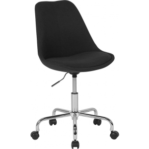 Wholesale Aurora Series Mid-Back Black Fabric Task Office Chair with Pneumatic Lift and Chrome Base
