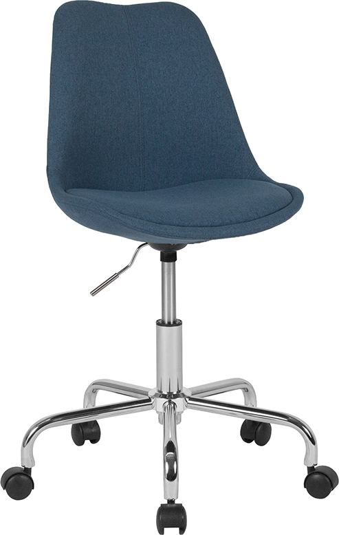 Wholesale Aurora Series Mid-Back Blue Fabric Task Office Chair with Pneumatic Lift and Chrome Base