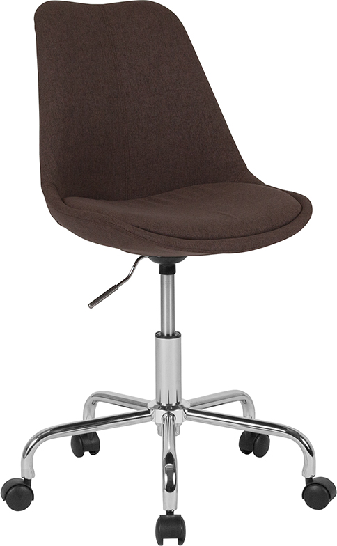 Wholesale Aurora Series Mid-Back Brown Fabric Task Office Chair with Pneumatic Lift and Chrome Base