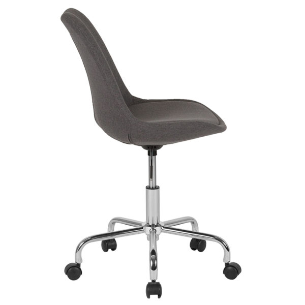 Lowest Price Aurora Series Mid-Back Dark Gray Fabric Task Office Chair with Pneumatic Lift and Chrome Base