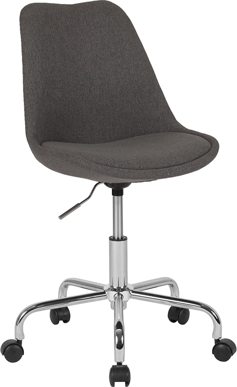 Wholesale Aurora Series Mid-Back Dark Gray Fabric Task Office Chair with Pneumatic Lift and Chrome Base