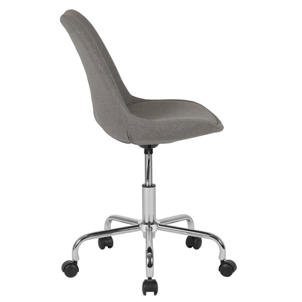 Lowest Price Aurora Series Mid-Back Light Gray Fabric Task Office Chair with Pneumatic Lift and Chrome Base