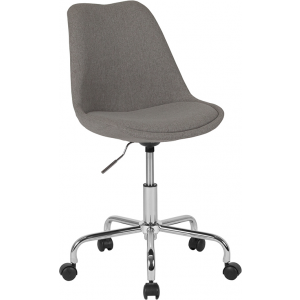 Wholesale Aurora Series Mid-Back Light Gray Fabric Task Office Chair with Pneumatic Lift and Chrome Base