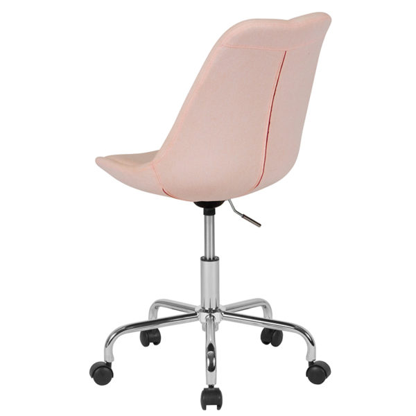Contemporary Task Office Chair Pink Fabric Task Chair