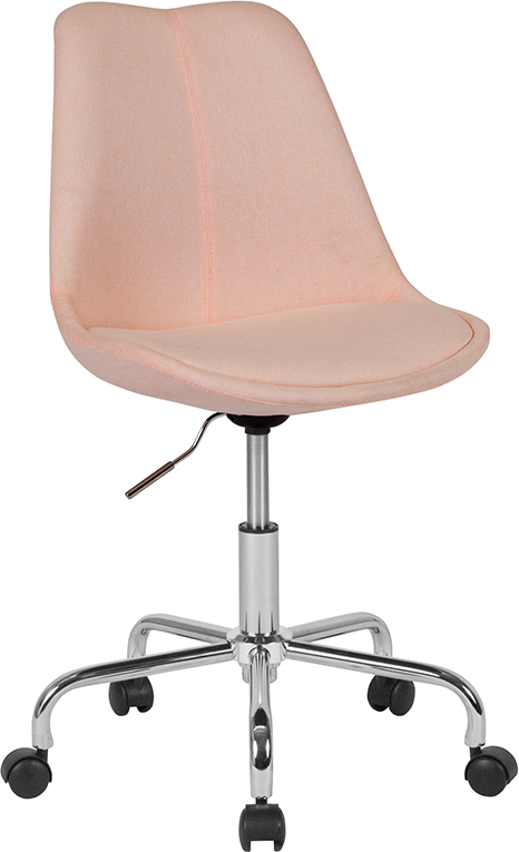 Wholesale Aurora Series Mid-Back Pink Fabric Task Office Chair with Pneumatic Lift and Chrome Base