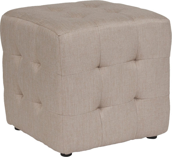 Wholesale Avendale Tufted Upholstered Ottoman Pouf in Beige Fabric