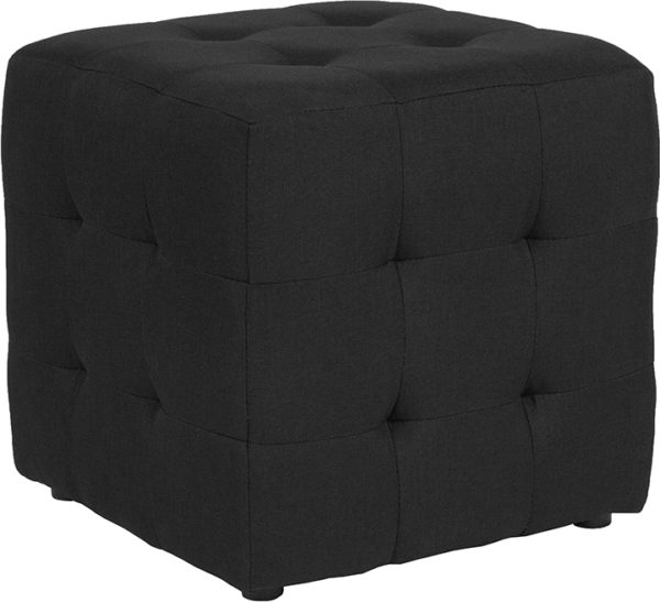 Wholesale Avendale Tufted Upholstered Ottoman Pouf in Black Fabric