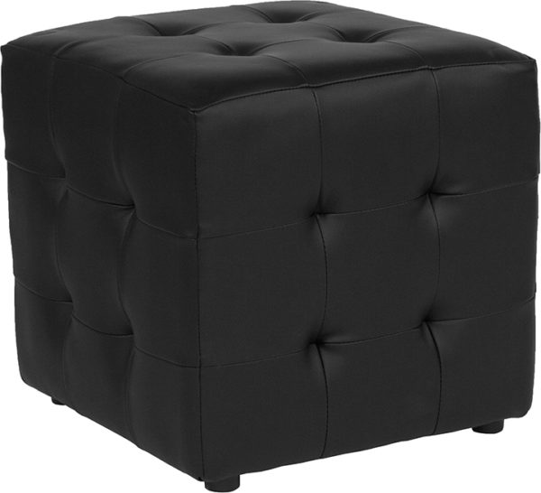 Wholesale Avendale Tufted Upholstered Ottoman Pouf in Black Leather