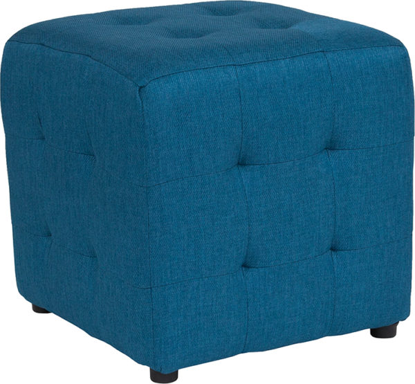 Wholesale Avendale Tufted Upholstered Ottoman Pouf in Blue Fabric