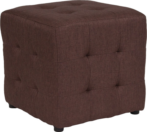Wholesale Avendale Tufted Upholstered Ottoman Pouf in Brown Fabric