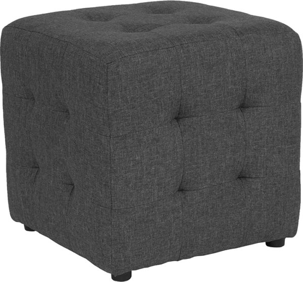Wholesale Avendale Tufted Upholstered Ottoman Pouf in Dark Gray Fabric