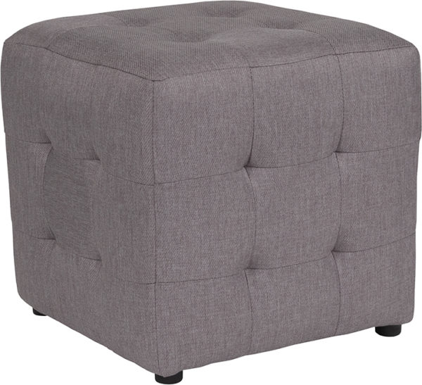 Wholesale Avendale Tufted Upholstered Ottoman Pouf in Light Gray Fabric
