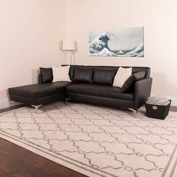 Lowest Price Back Bay Upholstered Accent Pillow Back Sectional with Left Side Facing Chaise in Black Leather