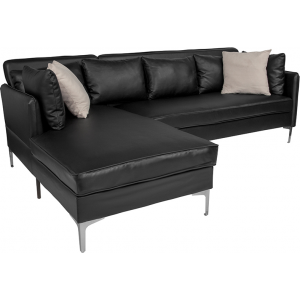 Wholesale Back Bay Upholstered Accent Pillow Back Sectional with Left Side Facing Chaise in Black Leather