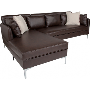 Wholesale Back Bay Upholstered Accent Pillow Back Sectional with Left Side Facing Chaise in Brown Leather