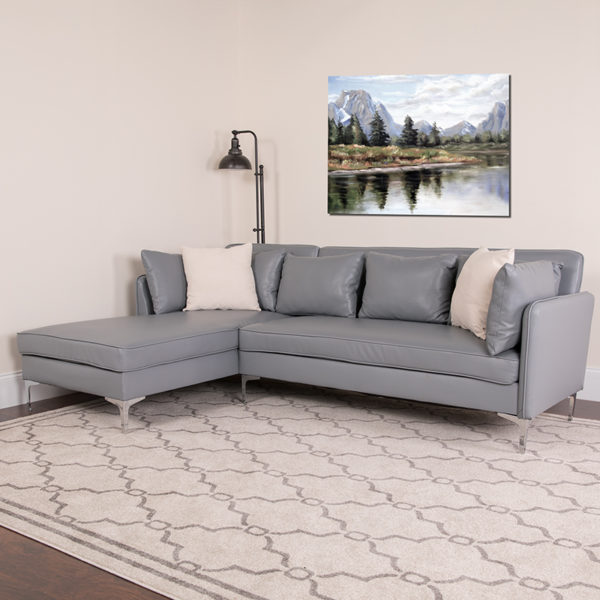 Lowest Price Back Bay Upholstered Accent Pillow Back Sectional with Left Side Facing Chaise in Gray Leather