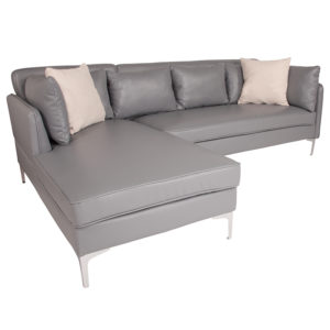 Wholesale Back Bay Upholstered Accent Pillow Back Sectional with Left Side Facing Chaise in Gray Leather