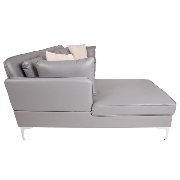 Contemporary Style Gray L-Shape Sectional Chaise