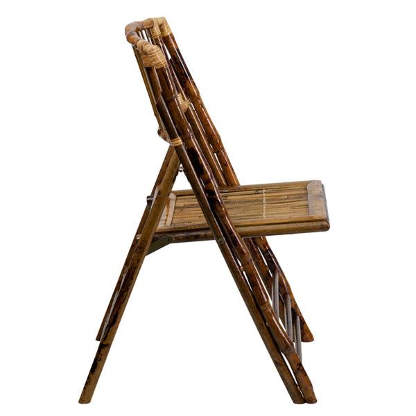 Set of 2 bamboo wood folding chairs Bamboo Folding Chair