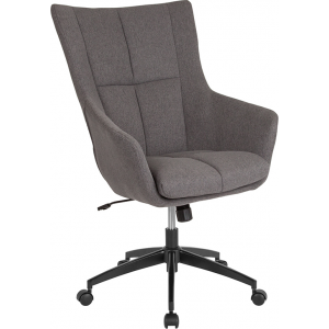 Wholesale Barcelona Home and Office Upholstered High Back Chair in Dark Gray Fabric