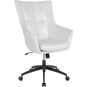 Wholesale Barcelona Home and Office Upholstered High Back Chair in White Leather