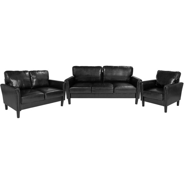 Wholesale Bari 3 Piece Upholstered Set in Black Leather