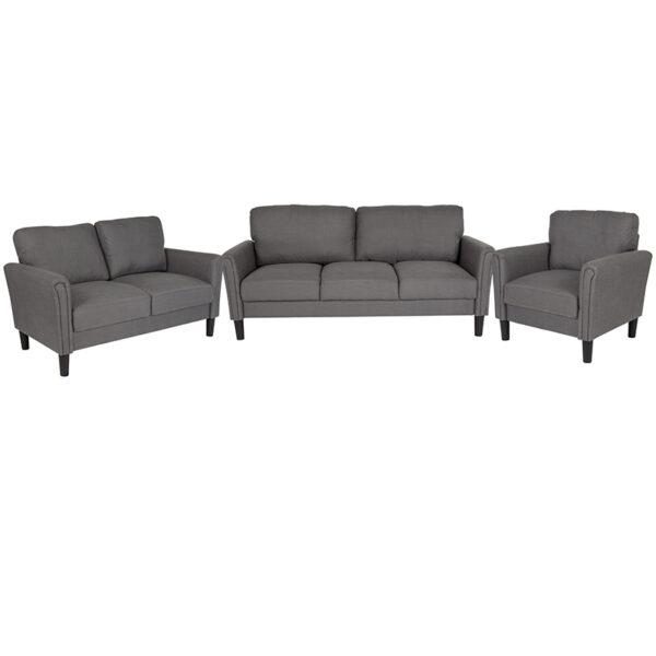 Wholesale Bari 3 Piece Upholstered Set in Dark Gray Fabric