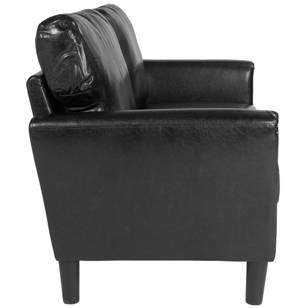 Lowest Price Bari Upholstered Loveseat in Black Leather