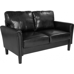 Wholesale Bari Upholstered Loveseat in Black Leather