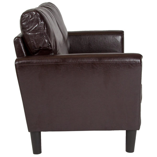 Lowest Price Bari Upholstered Loveseat in Brown Leather