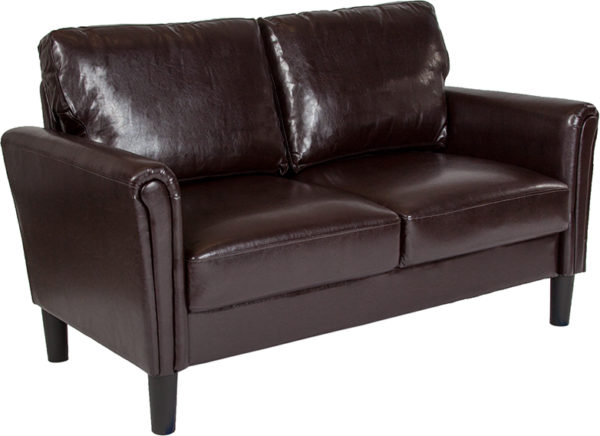 Wholesale Bari Upholstered Loveseat in Brown Leather