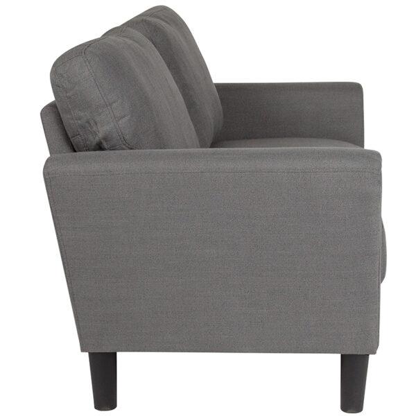 Lowest Price Bari Upholstered Loveseat in Dark Gray Fabric