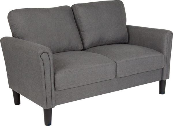 Wholesale Bari Upholstered Loveseat in Dark Gray Fabric