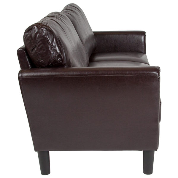 Lowest Price Bari Upholstered Sofa in Brown Leather