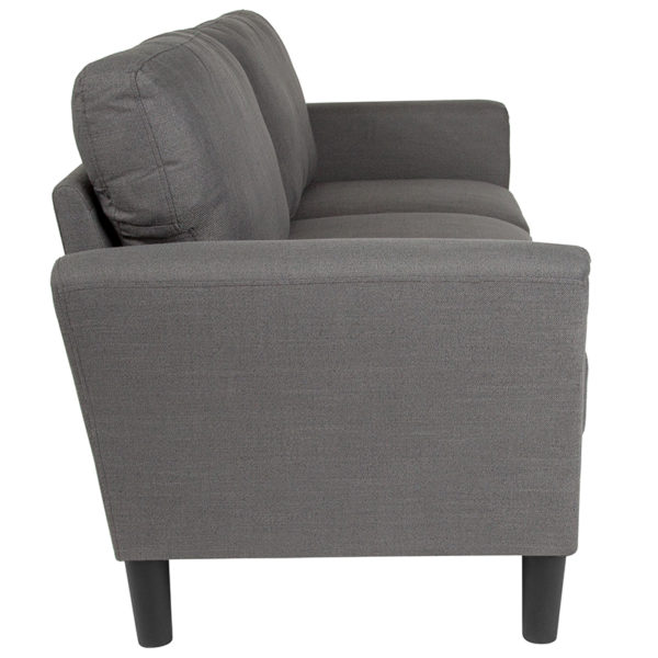 Lowest Price Bari Upholstered Sofa in Dark Gray Fabric