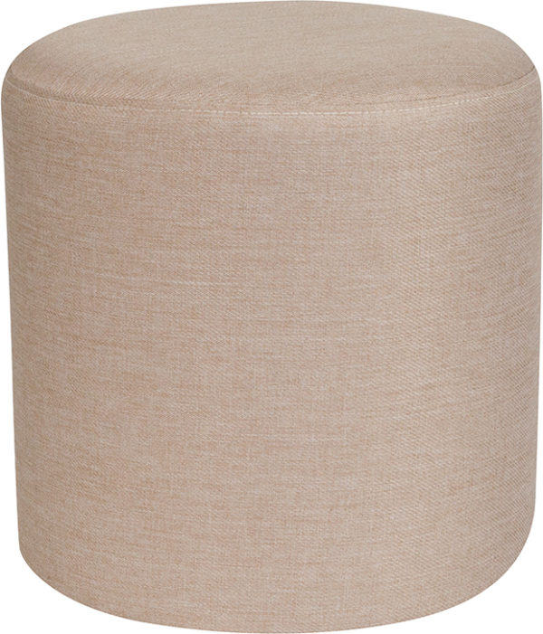 Wholesale Barrington Upholstered Round Ottoman Pouf in Beige Fabric