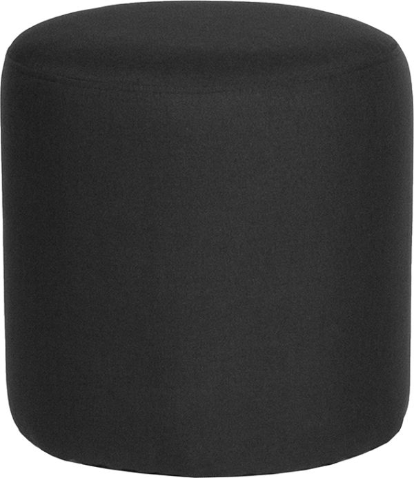 Wholesale Barrington Upholstered Round Ottoman Pouf in Black Fabric