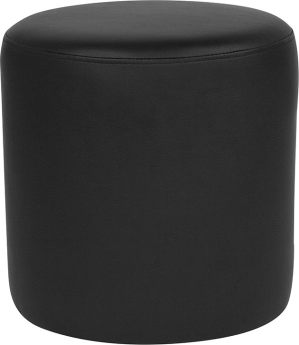 Wholesale Barrington Upholstered Round Ottoman Pouf in Black Leather