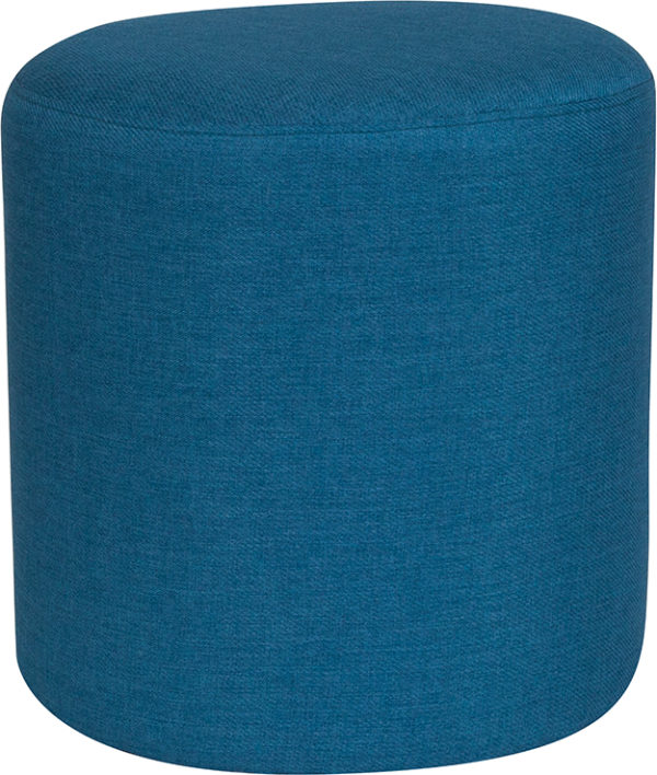 Wholesale Barrington Upholstered Round Ottoman Pouf in Blue Fabric