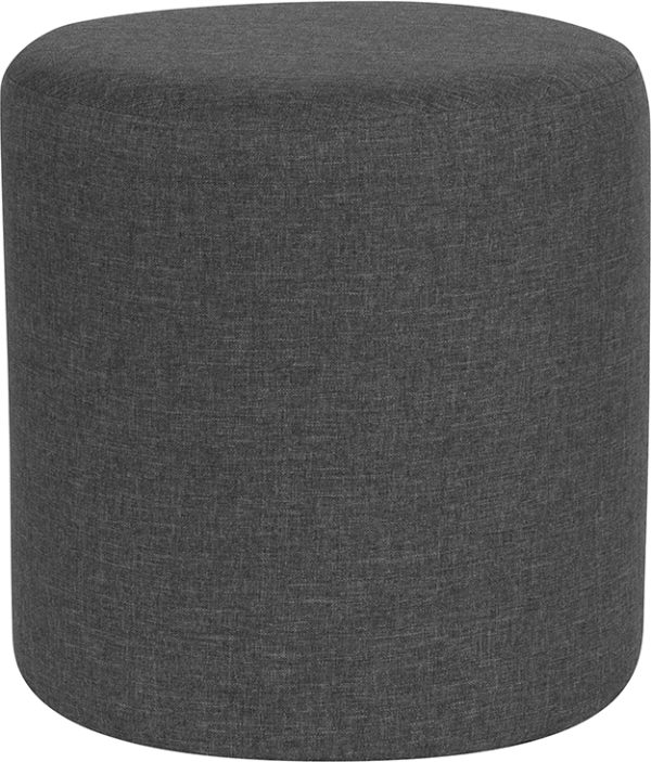 Wholesale Barrington Upholstered Round Ottoman Pouf in Dark Gray Fabric