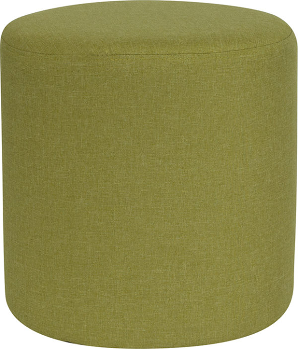 Wholesale Barrington Upholstered Round Ottoman Pouf in Green Fabric