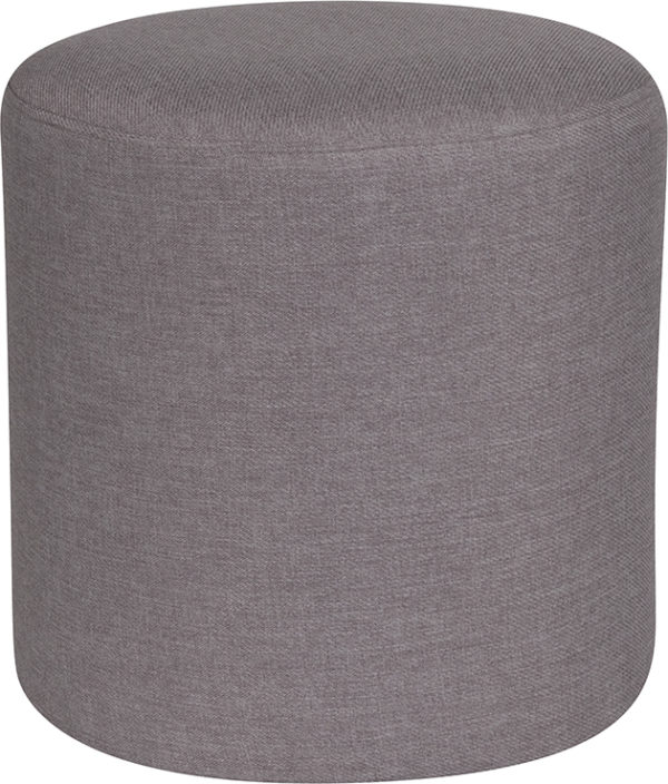 Wholesale Barrington Upholstered Round Ottoman Pouf in Light Gray Fabric