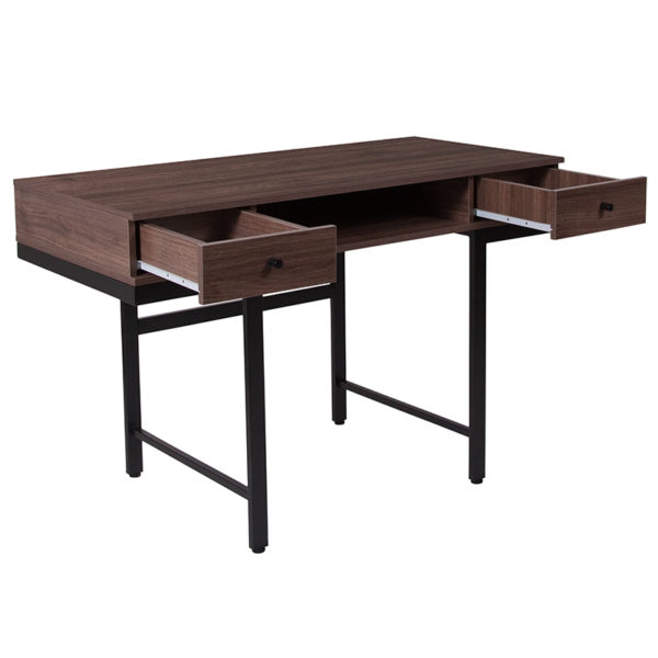 Lowest Price Bartlett Dark Ash Wood Grain Finish Computer Desk with Drawers and Black Metal Legs