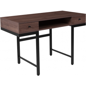 Wholesale Bartlett Dark Ash Wood Grain Finish Computer Desk with Drawers and Black Metal Legs